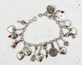 Vintage PUFFY HEART BRACELET 925 Sterling Silver Hearts Keys Lockets I Love You Charm Bracelet