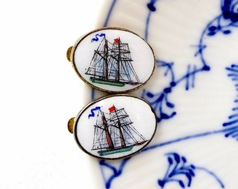 Antique ENAMEL TIE CLIPS - Nautical Clipper Ship - Tall Ship -  Button Collar Lapel Hat Clips Gold Plated Mounts
