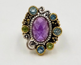 STERLING SILVER RING Echo of The Dreamer Zoe Cluster Ring 925 Sterling Silver Bronze Amethyst Gemstone Ring Sz 6 vintage