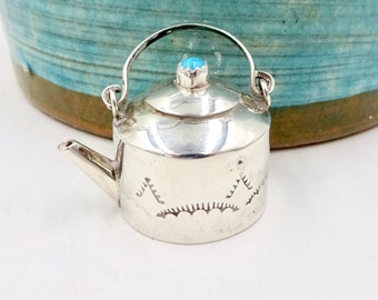 Vintage Navajo MINIATURE STERLING TEAPOT Turquoise Miniature Sterling Silver Tea Pot Kettle by Elizabeth Whitman