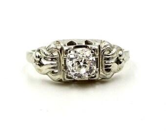 ANTIQUE DIAMOND RING 14K White Gold 1/3 Carat Old European Cut Diamond Ring Art Deco Era Sz 5 1/4