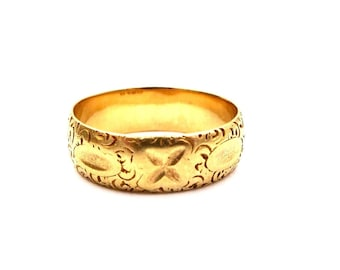 ANTIQUE GOLD RING London 18K Yellow Gold Etched Pattern Cigar Band Ring Sz 7 3/4