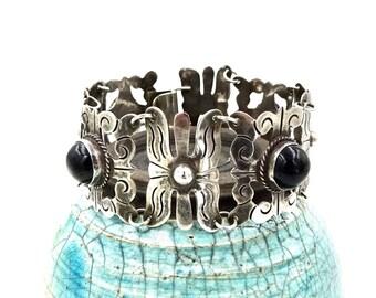 TAXCO MEXICO BRACELET Sterling Silver Black Onyx Vintage Antique  E62