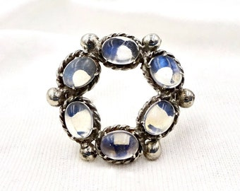 Vintage MOONSTONE CIRCLE PIN Brooch Sterling Silver Six Oval Moonstone Cabochons