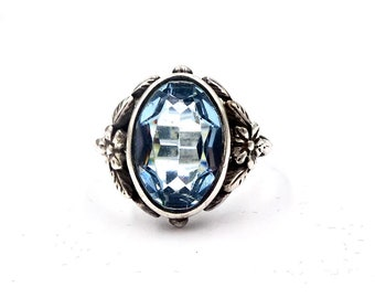 Vintage SHIPTONIA FLORAL RING Sterling Silver Faux Blue Topaz Wild Rose Sz 6 1/2 England