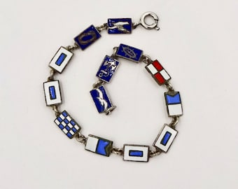 Vintage S.S. NASSAU BRACELET Silver Tone Enamel Incres Line International Maritime Signal Flags Nautical Bracelet
