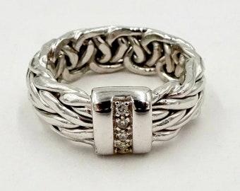White Gold Diamond Ring - 585 14k White Gold - Diamond Byzantine Braided Rope Band Ring Sz 6.5
