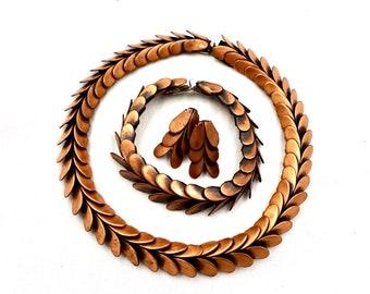Vintage REBAJES COPPER PARUE Signed Rebajes Modernist Copper Necklace Bracelet & Earring Set Mid Century Modern