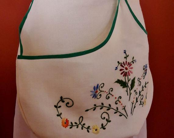Vintage APRON, Linen Embroidered Apron, Vintage Handmade Apron
