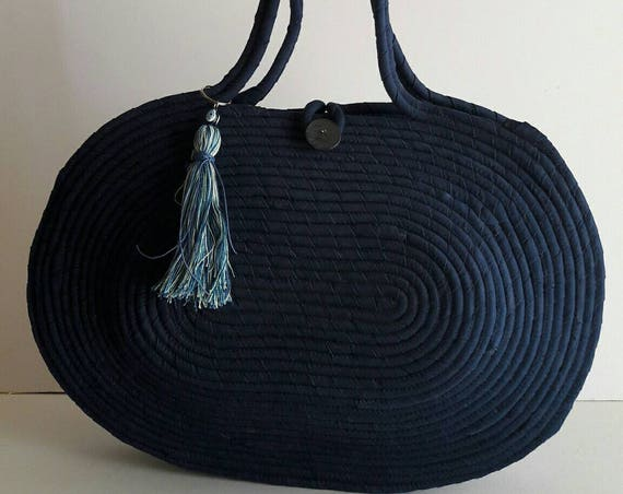 BY ORDER ONLY:  Blue Jeans Basket Bag, Monochrome Basketbag, French Style Basket Bag, Handmade Denim Bag