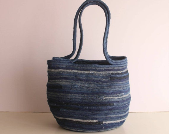 NEW LINE, Upcycled Denim Basket Bag, 100% Upcycled Jeans Bag, BohoChic BasketBag, Handmade Bag