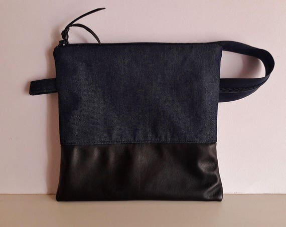Black Leather and Denim Clutch Bag,  Leather and Denim Cosmetics Bag, Handmade Unisex Cosmetics Pouch