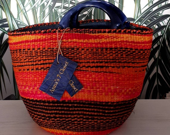 KENYAN Basket/Basketbag, Sisal Handmade Basketbag BohoChic Bag, Handmade Repurposed Bag