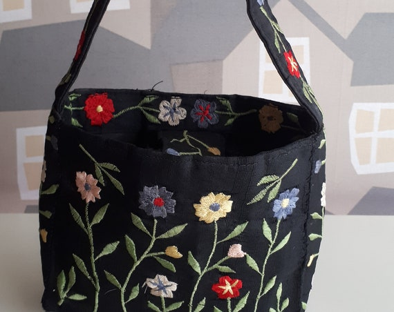 Vintage Embroidered Bag, Small Handmade Evening Bag, Vintage Handmade Bag