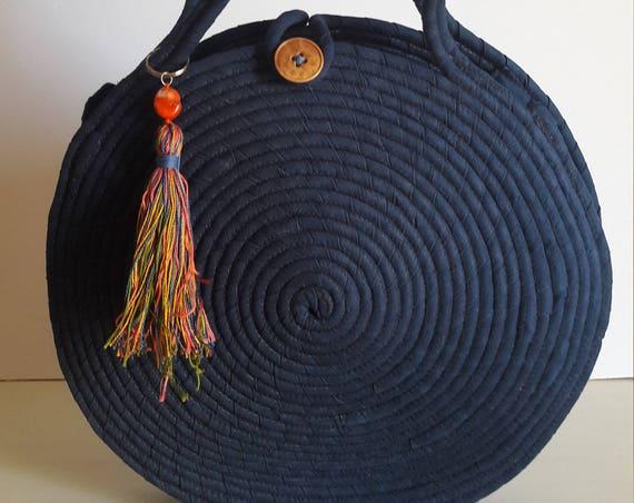 MEDIUM Round Blue Jeans Basket Bag, Monochrome Basketbag, French Style Basket Bag, Handmade Denim Bag