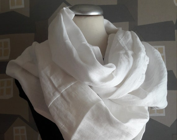 Upcycled Linen Scarf,Spring Autumn  White Linen Scarf, White Linen Unisex Loop