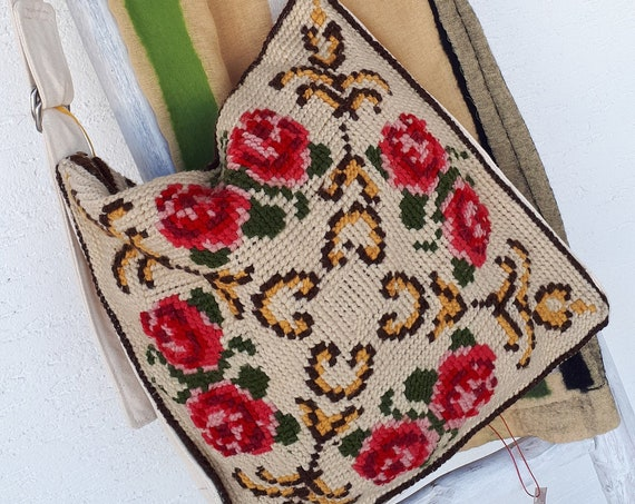 Vintage Hand Embroidered Cushions Repurposed, Hand Embroidered Messenger Bag, Trendy Teenager's Flower Messenger Bag