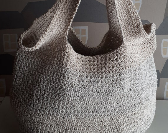 Handmade Crochet Bag, Summer Beach Bag, Rope Beach Bag, Beige Crochet bag with Wooden Handles
