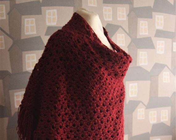 Crochet Echarpe, Red/Bourdeaux Handmade Shawl, Crochet Shawl