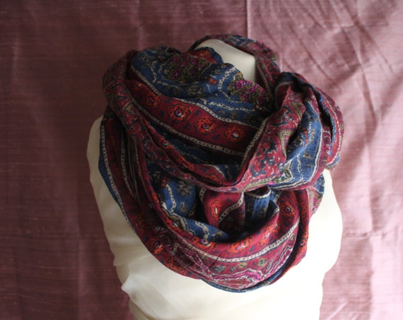 Autumn Chiffon Scarf, Red and Ble Pattern LOOP, Upcycled Autumn Shawl