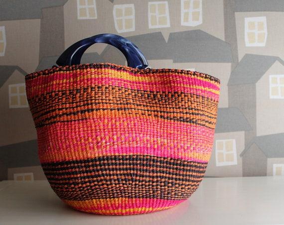 KENYAN Basket/Basketbag, Sisal Handmade Basketbag BohoChic Bag, Handmade Repurposed Bag