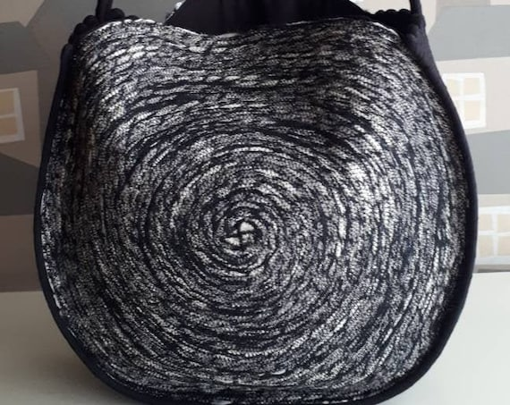 New LINE: Big Round GREY/BLACK Basket Bag, Grey with a touch of Black and Silver Boho Bag, French Style Basket Bag, Handmade Rope Bag