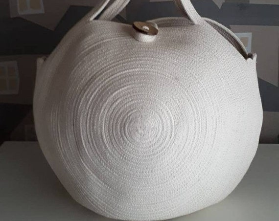 AVAILLABLE FOR PURCHASE: Large Round Off White Basket Bag, Monochrome Basketbag, French Style Basket Bag, Handmade Rope Bag