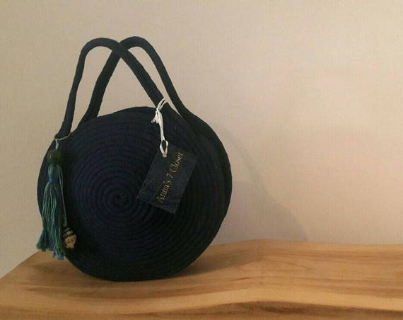 BY ORDER ONLY: Small Round Blue Jeans Basket Bag, Monochrome Basketbag, French Style Basket Bag, Handmade Denim Bag