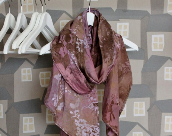 Upcycled Silk Scarf, Autumn Silk Scarf, Brown/Pink Silk Scarf