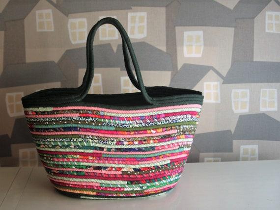 Green and Pink Basket Bag, Boho Autumn Basketbag, Boho Chic Bag, Handmade Chic Bag