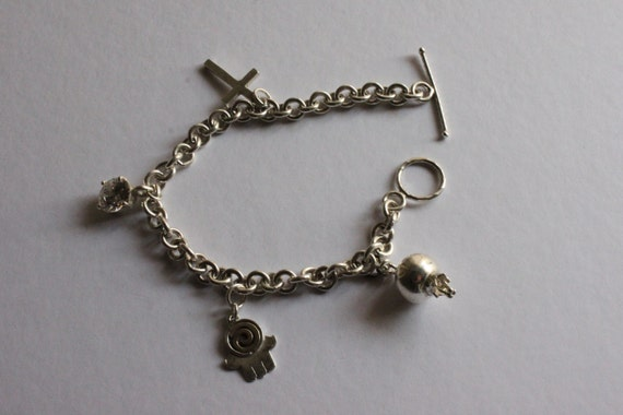 925 SILVER CHARM BRACELETS, Collector Charms, Alfa, Cross, Pomegranate Charms, Vintage Special Charms