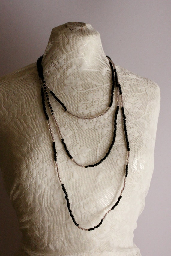 Black and Clear Necklace, Handmade Beats Necklace, Black and White Chic Statement Necklace