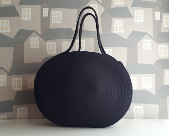 BY ORDER ONLY:  All  Black Basket Bag, Monochrome Basketbag, French Style Basket Bag, Handmade Denim Bag