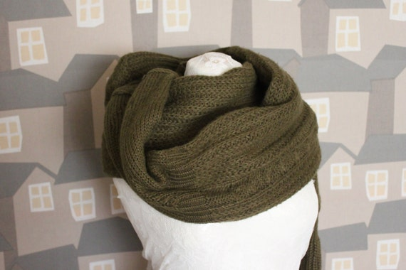Unisex Upcycled Scarf, Green Wool Scarf, Chunky Unisex Upcycled Wool Scarf