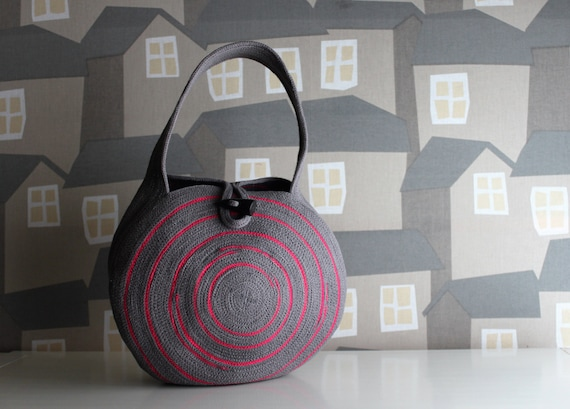 NEW COLOURS: Small Round GREY Basket Bag, Grey with a touch of Fucsia Boho Bag, French Style Basket Bag, Handmade Rope Bag