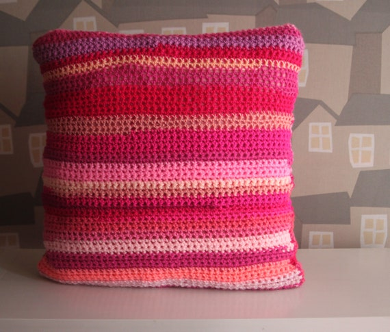 Pink Crochet Cushion, Double sided Crochet Cushion, Crochet Boho Pink Cushion