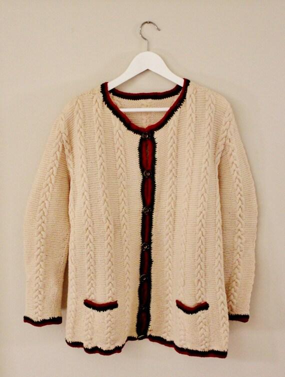 Handmade Wool Cardigan, Vintage Wool Cardigan, Italian Vintage Handmade Cardigan