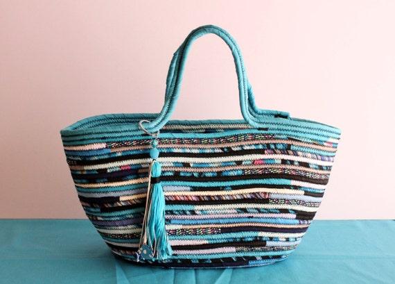 Turquise and Black Basketbag, Bohochic Basket Bag, Upcycled Basket Tote Bag