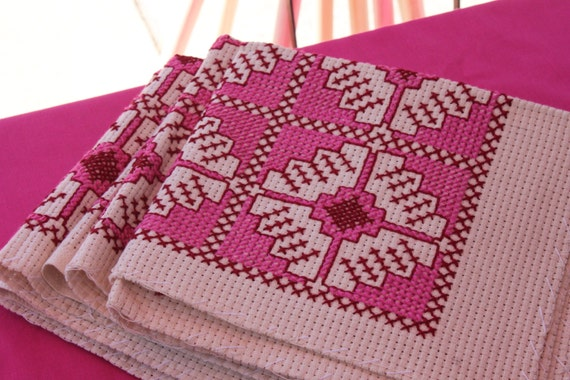 Square Cross Stitch Doilies, Cross Stitch Cushions, Pink Cross Stitch Runner