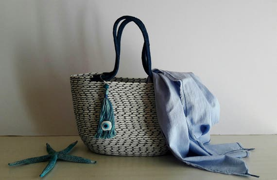 BY ORDER ONLY: White and Black Basket Bag, Monochrome Basketbag, Summer BohoChic Bag, Handmade Rope Bag