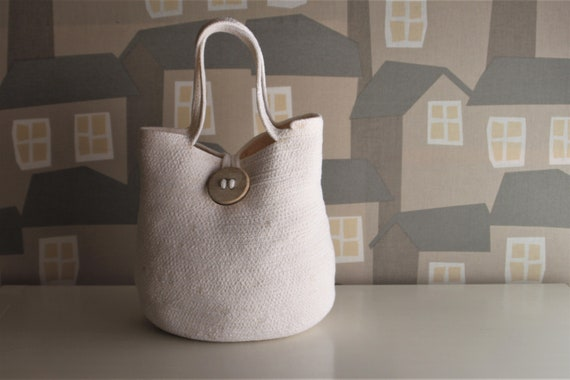 NEW LINE: White/Beige Basket Tote Bag, Handmade Rope Tote Bag