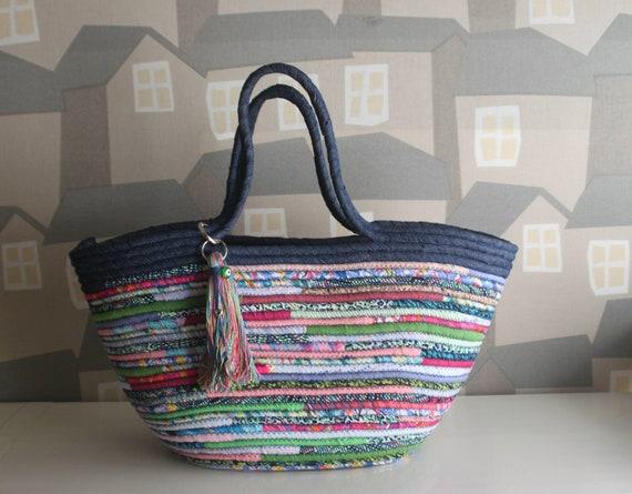 BY ORDER ONLY: Blue/Pink/Lime Basket Bag, Multicolour Basketbag, Summer BohoChic Bag, Handmade Denim Bag