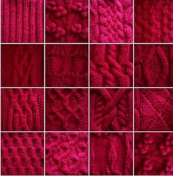 Knitted Blanket, Wool Patchwork Blanket, Handmade Knitted Wool Afghan