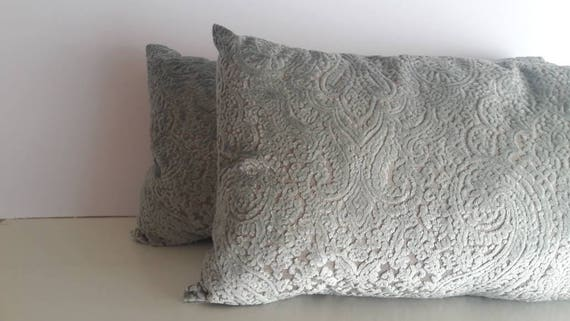 Pair of Damask Cushions Vintage Upholstery Fabric, Handmade Almond Green Velvet Cushions