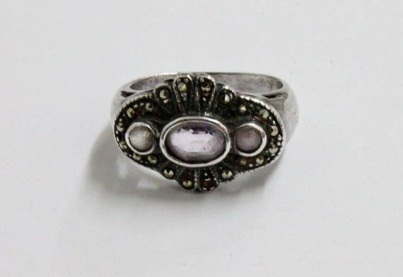 925 SILVER Vintage RING with AMETHIST and Marcasites