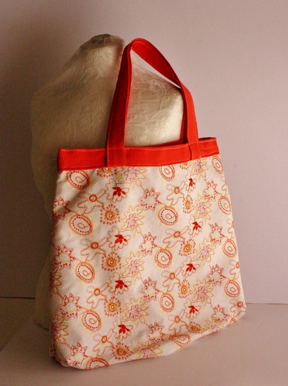 Upcycled Orange Embroidered Bag, Market Bag, Handmade School/Market Bag