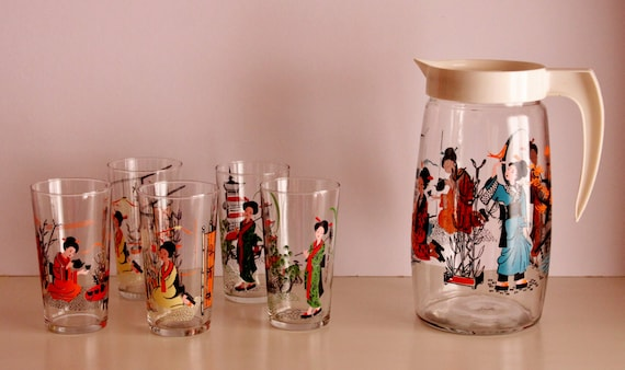 Set of 5 Glasses with Jar, Japanese Pattern Glasses, Vintage Jar and Glasses Set