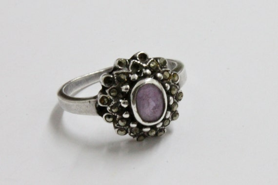 Vintage 925 SILVER Ring with AMETHYST and MARCASITES