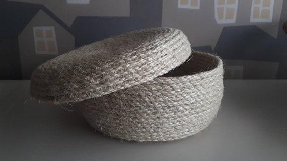 Sisal Baskets, Basket/Box with Lid,  Handmade Rope Box, Made To ORDER, Sisal Baskets for Home Decor