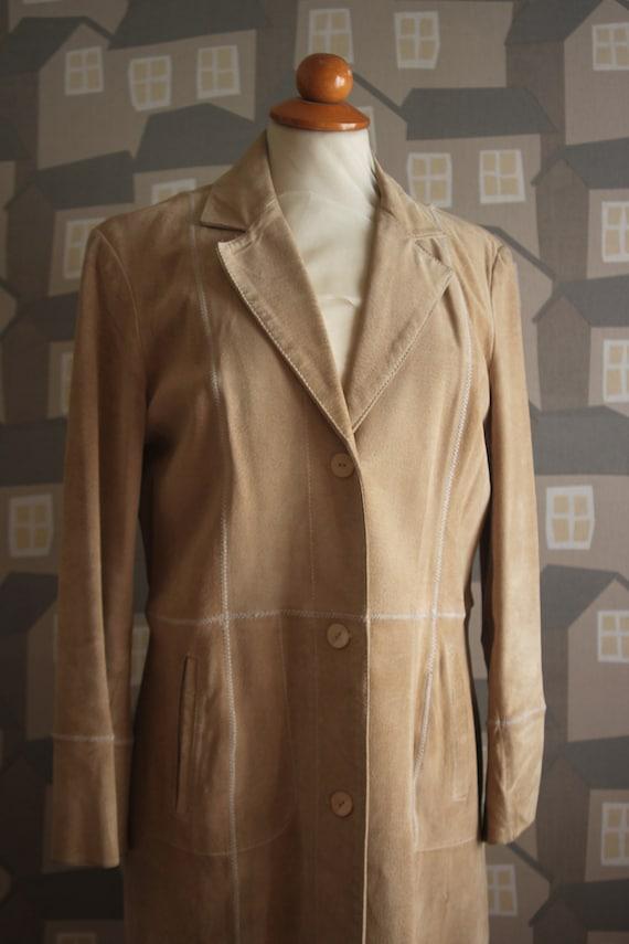 Vintage 90's Beige Coat, Vintage Sued Women's Coat